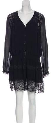 Haute Hippie Silk Lace Mini Dress Black Silk Lace Mini Dress