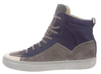Salvatore Ferragamo Round-Toe High-Top Sneakers