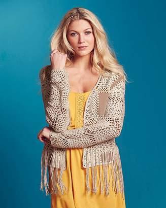 Fashion World Suedette Crochet Patch Cardigan