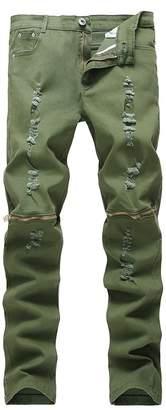 NORAME Men's Slim Fit Pencil Pants Vintage Zipper Denim Distressed Stretch Ripped Jeans