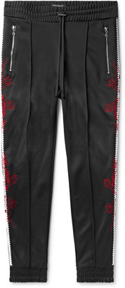 Amiri Slim-Fit Tapered Embroidered Webbing-Trimmed Tech-Jersey Track Pants - Men - Black