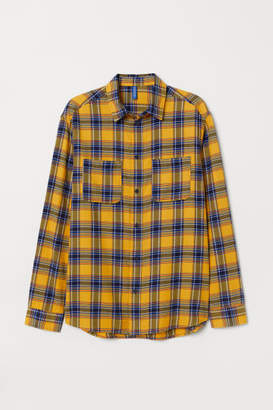 H&M Cotton Flannel Shirt - Yellow