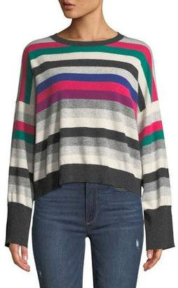 Autumn Cashmere Striped Wide-Sleeve Cashmere Sweater