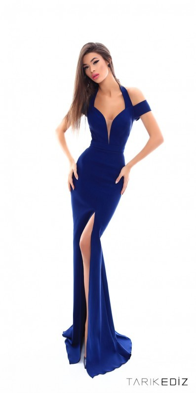 Tarik Ediz Prom Plunging Off the Shoulder Fitted Thigh Slit Prom Dress