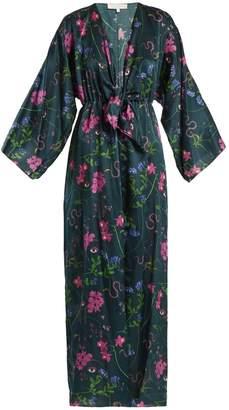 BORGO DE NOR Elsa Surreal-print V-neck satin kimono dress
