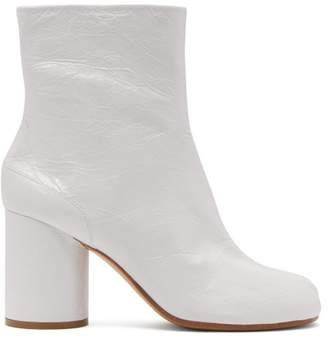 Maison Margiela Tabi Split Toe Leather Ankle Boots - Womens - White