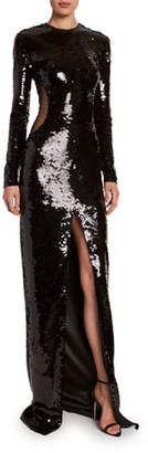 Tom Ford Sequined Cutout-Illusion Evening Gown