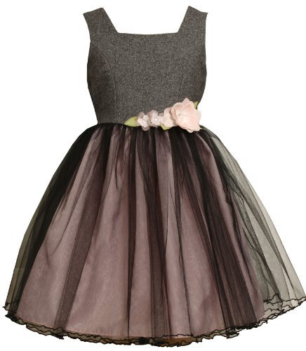 Bonnie Jean Tweed Bodice and Tulle Skirt Dress With Flowers And Organza Bow