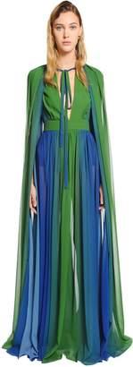 Elie Saab Gradient Crepe Georgette Long Dress