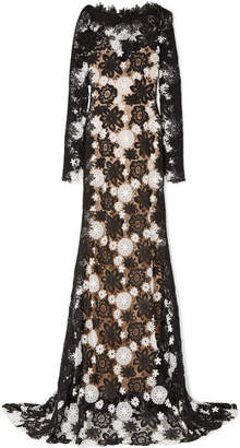 Naeem Khan Two-tone Guipure Lace Gown - Black