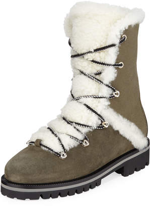 Yves Salomon High-Top Combat Boots with Shearling Trim