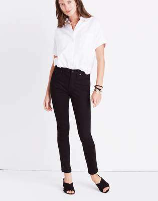 "Madewell 9"" High-Rise Skinny Jeans in ISKO Stay Black"