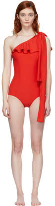 Lisa Marie Fernandez Red Arden Flounce Swimsuit