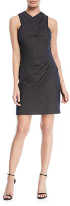 Halston Wrapped Fitted-Draped Sleeveless Mini Dress