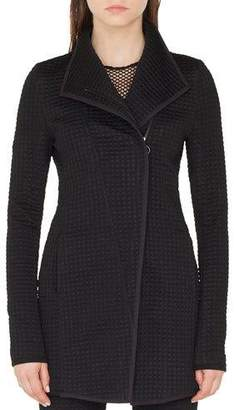Akris Punto Long Houndstooth Jersey Biker Jacket