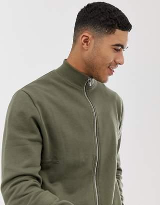 Asos Design DESIGN jersey track jacket in khaki