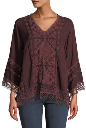 Johnny Was Renee Lace-Trim Blouse