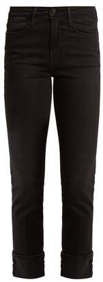 Frame Le High Straight Leg Stretch Denim Jeans - Womens - Black