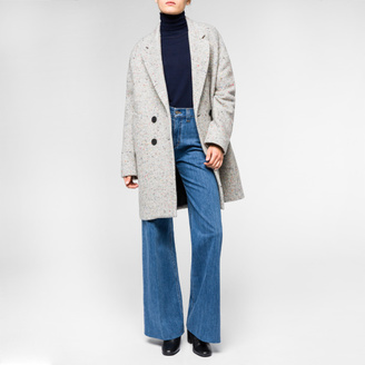 Women's Grey Wool-Blend Double-Breasted Coat With Coloured Neps $795 thestylecure.com