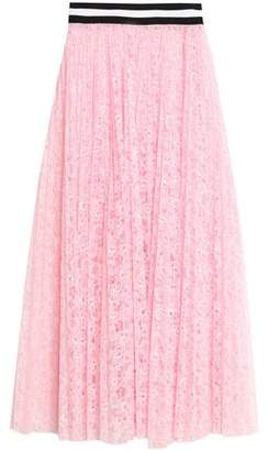 MSGM Pleated Neon Lace Midi Skirt
