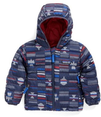 Infant Boy's Patagonia Reversible Down Sweater Hoodie $119 thestylecure.com