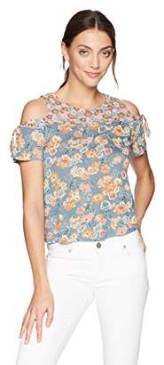 Lucky Brand Women's Floral Print Cold Shoulder TIE TOP