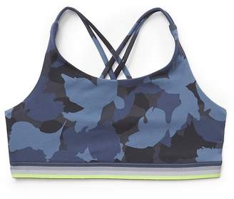 Athleta Girl Camo Upbeat Bra w/Rainbow Trim