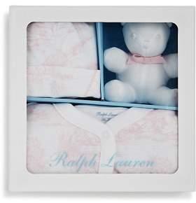 Ralph Lauren Girls' Toile Hat, Footie & Bear Gift Set - Baby