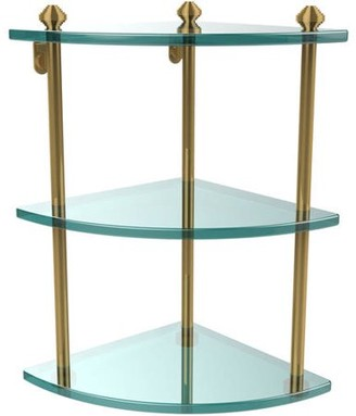 South Beach Allied Brass Southbeach Collection 3-Tier Corner Glass Shelf (Build to Order)
