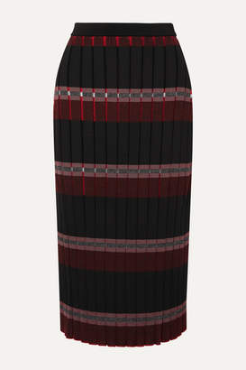 Marni Pleated Striped Knitted Midi Skirt - Black