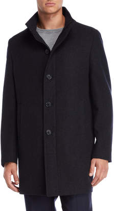 John Varvatos Navy & Grey Urban Stand Collar Coat