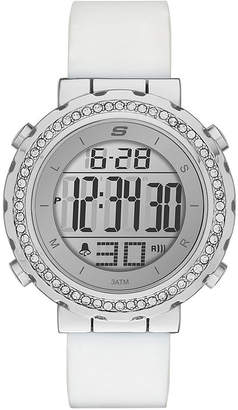 Skechers Womens Crystal White Silicone Strap Watch