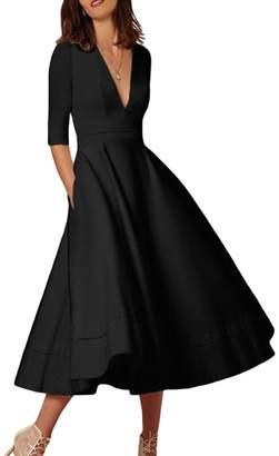 Lettre d'amour Women's Elegant Deep V-Neck 3/4 Sleeve Swing Party Summer Prom Dress XS