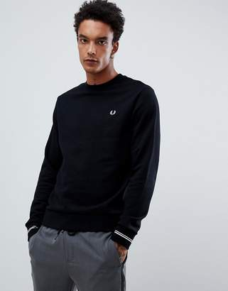 Fred Perry crew neck sweat in black
