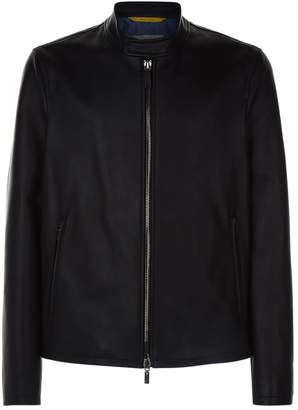 Canali Leather Biker Jacket