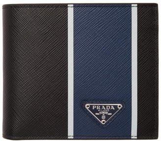 a8c96f6cf34262 Prada Black and Blue Saffiano Wallet