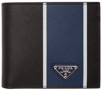 f4788379feee Prada Black and Blue Saffiano Wallet