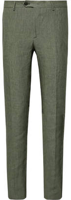 Etro Green Slim-Fit Linen Suit Trousers