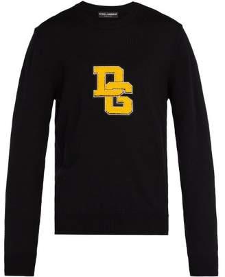 Dolce & Gabbana Logo Applique Crew Neck Wool Sweater - Mens - Black