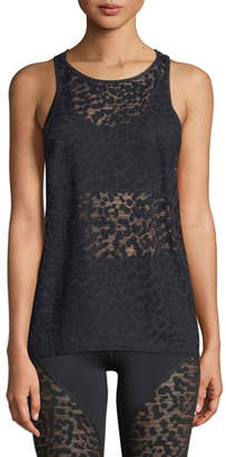 Vimmia Dash Racerback Cheetah-Burnout Sheer Sports Tank