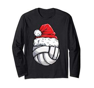 Volleyball Ball Santa T shirt Christmas Women Xmas Hat Sport