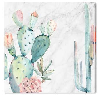 Marble & Succulents Canvas Wall Art