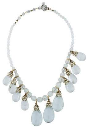 Miriam Haskell Crystal & Pearl Collar Necklace