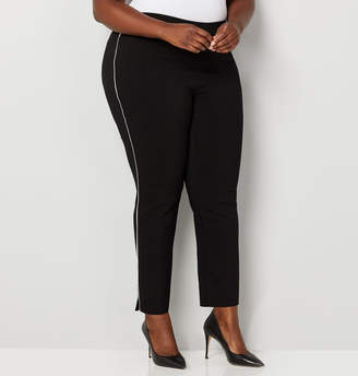 Avenue White Piped Ankle Pant