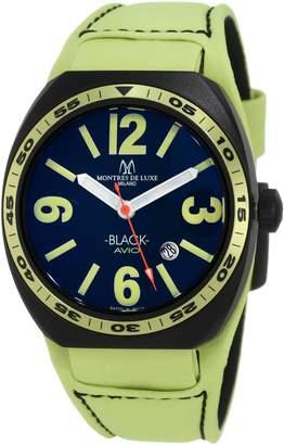Montres de Luxe Men's BK2503 Avio Aluminum PVD Green Leather Cuff Watch