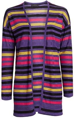 Saks Fifth Avenue Silk & Linen Striped Open-Front Cardigan