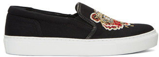 Kenzo Black Tiger Skate Slip-On Sneakers $180 thestylecure.com