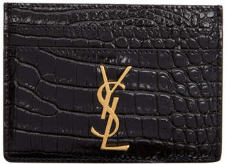 Saint Laurent Black Croc Logo Card Holder