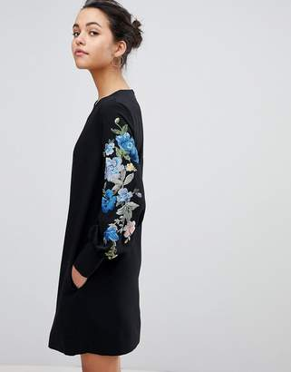 Sportmax CODE Code Balloon Sleeve Dress with Embroidery