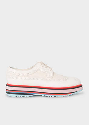 Paul Smith Women's Off-White Leather 'Grand' Brogues With Striped Soles